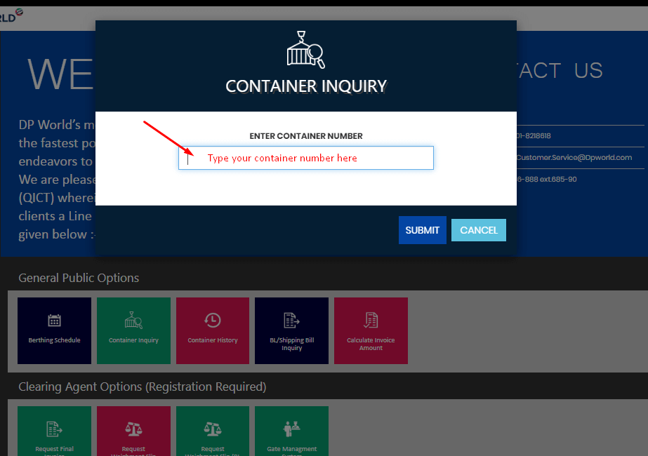 QICT-Container-Tracking-Search-Page