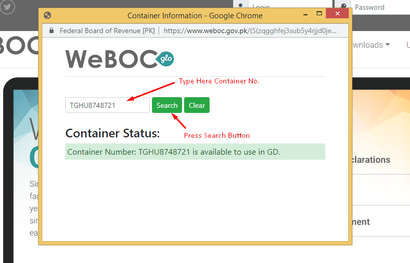 Check-Container-Status-in-WeBOC-Glo-searcj-container