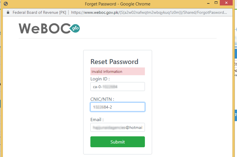 Weboc-glo-invalid-information-password-reset-information