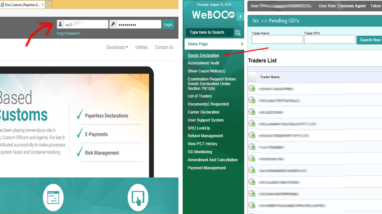WeBOC-Home-Page-Goods-Declaration-Page